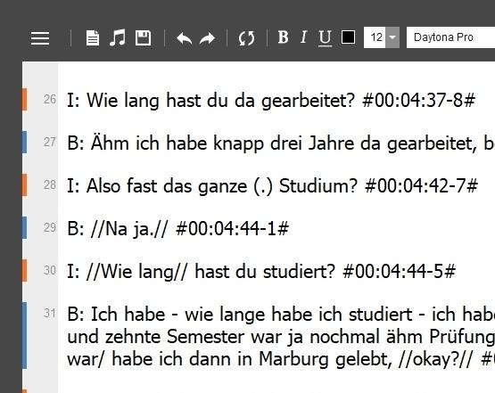 Ein Beispiel für die Arbeit mit der Transkriptionsoftware f4transkript.