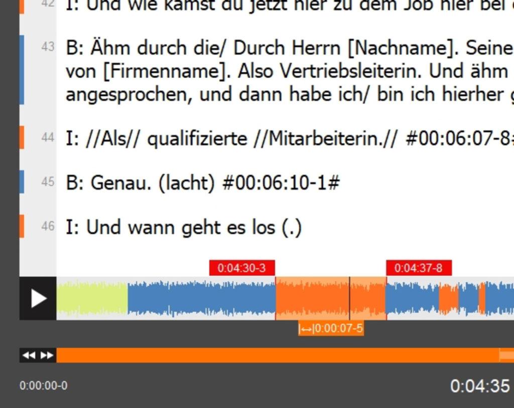 f4transkript arbeitet mit automatischen Zeitmarken