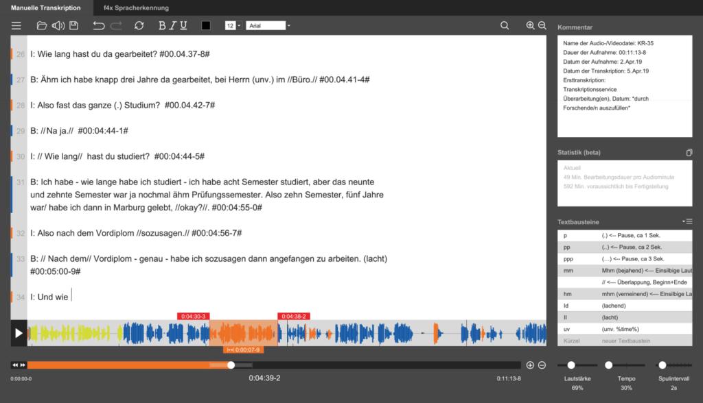 Ein Screenshot der Software von audiotranskription